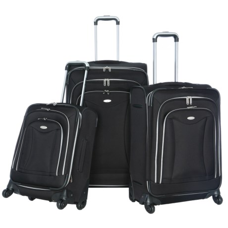 Olympia Luxe Expandable Spinner Luggage Set - 3-Piece in Black