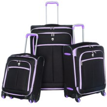 """Olympia O'Tron Expandable 360 Spinner Luggage Set - 3-Piece, 18"""", 22"""" and 30"""" Nested in Black/Plum - Closeouts"""