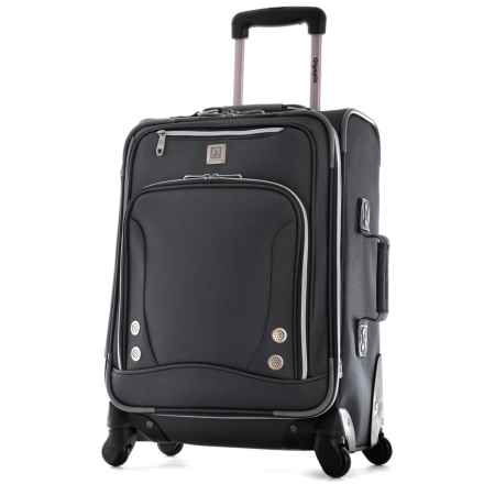 """Olympia Skyhawk Carry-On Spinner Suitcase - 22"""" in Black - Closeouts"""