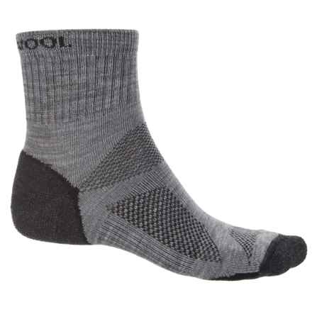 Omni Wool Endurance Pro Light Socks - Merino Wool, Quarter Crew (For Men and Women) in Light Grey/Charcoal - Closeouts