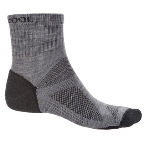 Omni Wool Endurance Pro Light Socks - Merino Wool, Quarter Crew (For Men and Women) in Light Grey/Charcoal