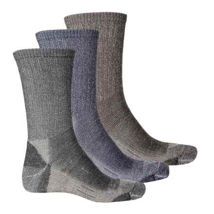 Omni Wool Light Hiking Socks - Merino Wool, Crew, 3-Pack (For Men and Women) in Brown/Charcoal/Navy - Closeouts