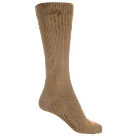 Omni Wool Lightweight Utility Boot Socks - Crew (For Men and Women) in Brown/Orange - 2nds