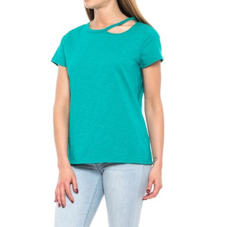 ONE A Cotton Slub Cutout Shoulder Shirt - Crew Neck, Short Sleeve (For Women) in Bahamas