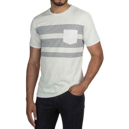 One-Pocket Pinstripe T-Shirt - Crew Neck, Short Sleeve (For Men) in Light Grey Heather/Black - 2nds