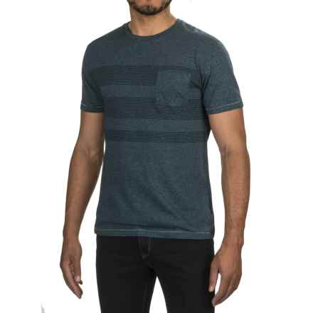 One-Pocket Pinstripe T-Shirt - Crew Neck, Short Sleeve (For Men) in Navy Heather/Navy - 2nds