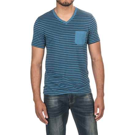 One-Pocket Stripe T-Shirt - V-Neck, Short Sleeve (For Men) in Blue Heather/Navy/Blue Heather - 2nds