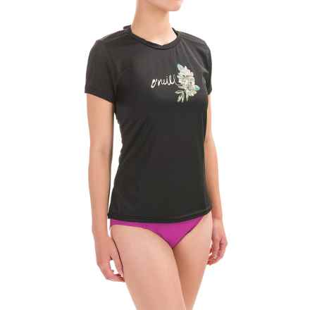 O'Neill Graphic Rash Guard - UPF 50+, Short Sleeve (For Women) in Black - Closeouts