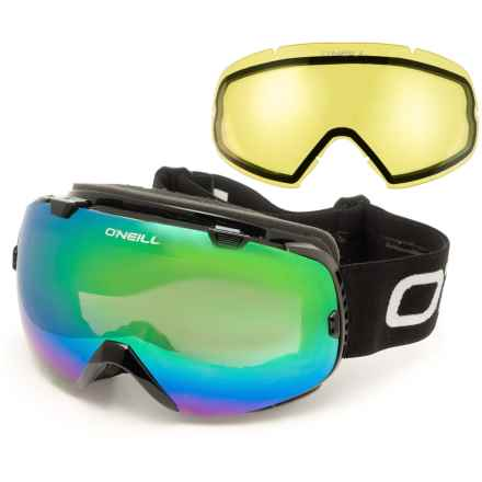 O'Neill Reach Mirrored Ski Goggles - Extra Lens in Gloss Black/Brown Revo/Green Mirror/Black/White/Ye - Overstock