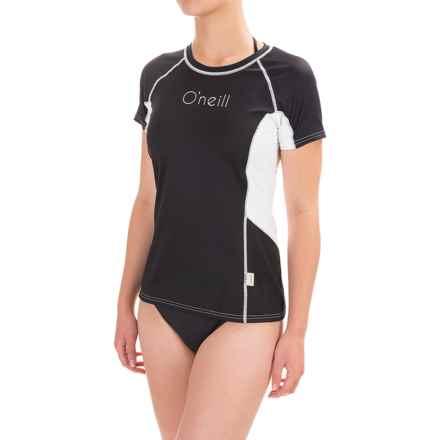 O'Neill Skins Color-Block Rash Guard - UPF 50+, Short Sleeve (For Women) in Black/Black/White - Closeouts