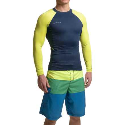 O'Neill Skins Stitchless Rash Guard - UPF 50+, Long Sleeve (For Men) in Navy/Lime - Closeouts