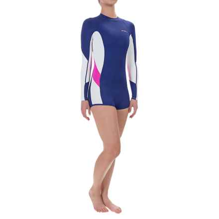 O'Neill Skins Surf Suit Rash Guard Shorty - UPF 50+, Long Sleeve (For Women) in Cobalt/White/Berry - Closeouts
