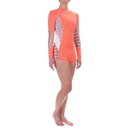O'Neill Skins Surf Suit Rash Guard Shorty - UPF 50+, Long Sleeve (For Women) in Light Grapefruit/Bahia/White - Closeouts