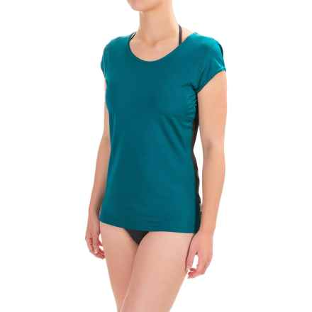 O'Neill Solid Rash Guard - UPF 50+, Short Sleeve (For Women) in Deep Teal/Black - Closeouts