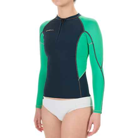 O'Neill Supertech Rash Guard - UPF 50+, Long Sleeve (For Women) in Navy/Sea Glass:Light Grapefruit - Closeouts