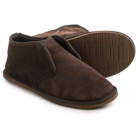 O'Neill Surf Turkey Suede Slippers - Sherpa Lined (For Men) in Dark Brown - Closeouts
