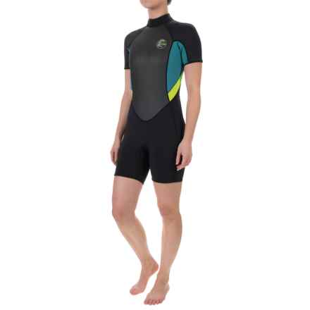 O'Neill's Bahia Spring Wetsuit - 2mm, Short Sleeve (For Women) in Black/Deep Teal/Lime - Closeouts