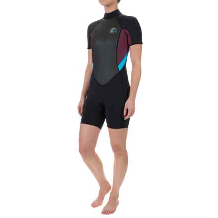 O'Neill's Bahia Spring Wetsuit - 2mm, Short Sleeve (For Women) in Black/Myers/Sky - Closeouts