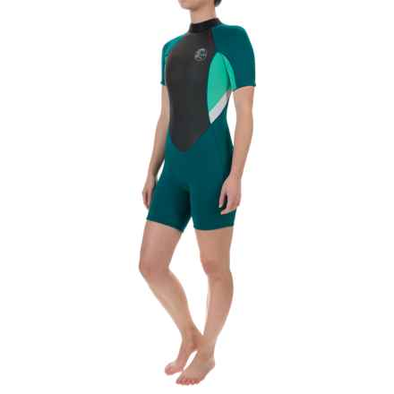O'Neill's Bahia Spring Wetsuit - 2mm, Short Sleeve (For Women) in Deep Teal/Seaglass/White - Closeouts