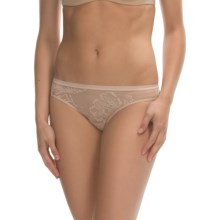 OnGossamer Floral Mesh Bikini Panties (For Women) in Champagne - Closeouts