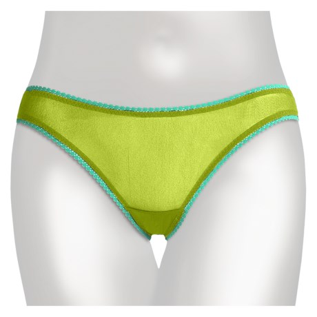 OnGossamer Mesh Panties - Bikini Briefs, Low Rise (For Women) in Twist Of Lime/Summertime Blues