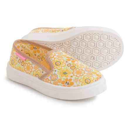 Oomphies Madison Shoes - Slip-Ons (For Little and Big Girls) in Yellow Floral - Closeouts