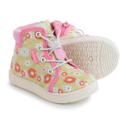 Oomphies Sydney High-Top Shoes (For Little and Big Girls) in Tan Floral - Closeouts