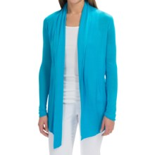 Open-Front Rayon Cardigan Sweater (For Women) in Aqua - 2nds