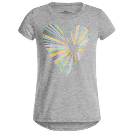Open Heart High-Low T-Shirt - Short Sleeve (For Big Girls) in Heather Grey - Closeouts
