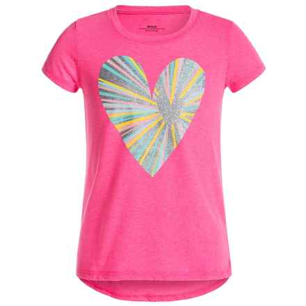 Open Heart High-Low T-Shirt - Short Sleeve (For Big Girls) in Pop Pink - Closeouts