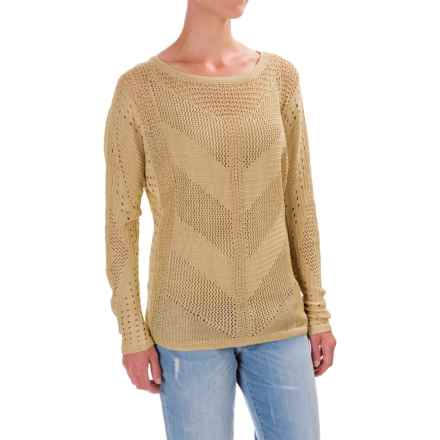 Open-Knit Honeycomb Sweater - Semi Sheer (For Women) in Sand - 2nds