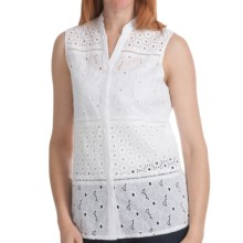 Options by August Silk Eyelet Blocked Shirt - Cotton, Sleeveless (For Women) in White - Closeouts