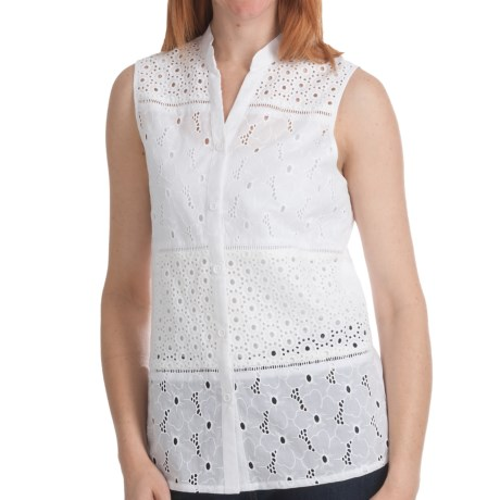 Options by August Silk Eyelet Blocked Shirt - Cotton, Sleeveless (For Women)