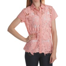 Options by August Silk Lace Camp Shirt - Cotton Voile, Short Sleeve (For Women) in Quartz Pink - Closeouts