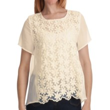 Options by August Silk Organza Daisy Shirt - Split Back, Short Sleeve (For Women) in Ivory - Closeouts