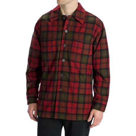 Options Log Cabin Plaid Shirt Jacket - Wool, Long Sleeve (For Men) in Red/Black