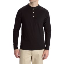Options Top-Dyed Jersey Henley Shirt - Cotton, Long Sleeve (For Men) in Black - Closeouts