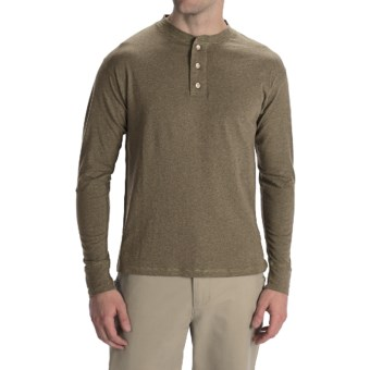 Options Top-Dyed Jersey Henley Shirt - Cotton, Long Sleeve (For Men) in Khaki