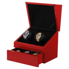 Orbita Sparta Executive Double Watch Winder - Lithium Batteries, Storage Drawer in Red Lacquer - Closeouts