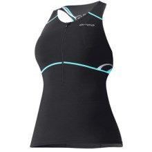 Orca 226 Support Singlet - Built-In Sports Bra (For Women) in Black/Bachelor Button Print - Closeouts