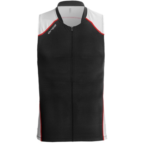 Orca 226 Tri Tank Top - Zip Neck (For Men) in Black/True Red