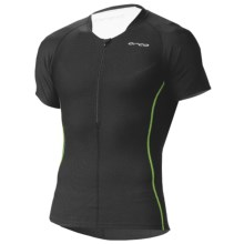 Orca 226 Tri Top - UPF 50+, Zip Neck, Short Sleeve (For Men) in Black/Moto Green - Closeouts