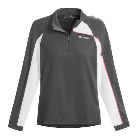 Orca Active Fleece Shirt - Quarter-Zip Neck, Long Sleeve (For Women) in Grey/White/Pink
