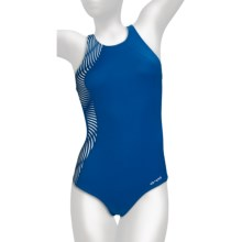 Orca CL-R Swimsuit - 1-Piece, Racerback (For Women) in Summer Blue/White Print - Closeouts