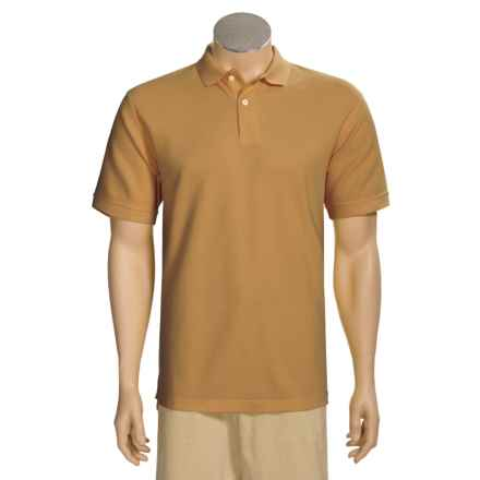 Organic Cotton Polo Shirt - Short Sleeve (For Men) in Camel - Closeouts
