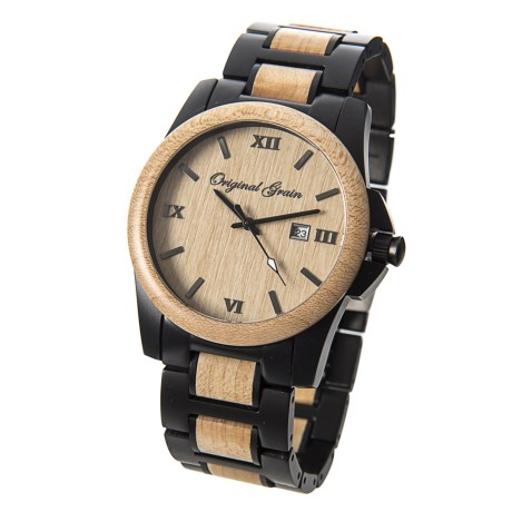 Original Grain Maple Wood Classic Watch - Steel Bracelet in Brown/Black