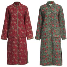 Orvis Cotton Quilted Robe - Cotton, Reversible (For Women) in Red Block Print - Closeouts