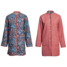 Orvis Long Jacket Cotton Print/Solid Reversible (For Women) in Blue Floral/Salmon - Closeouts