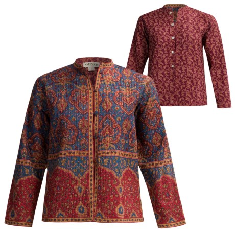 Orvis Print Reversible Jacket - Quilted Cotton (For Women) in Blue Fleur De Lis/Wine Print