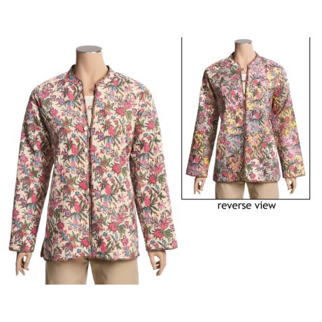 Orvis Print Reversible Jacket - Quilted Cotton (For Women) in Patchwork/Cream Floral